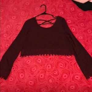 Maroon Crop long sleeve